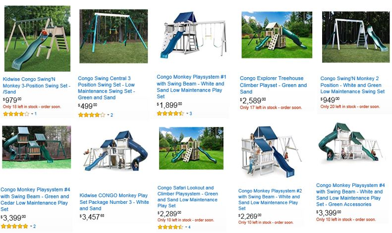 Kidwise swing sets reviewed at Amazon