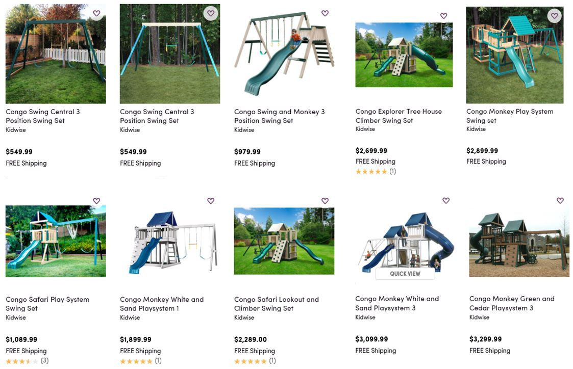 Kidwise swing sets reviewed at Wayfair