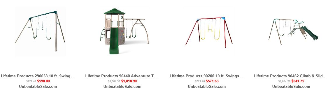 Lifetime Metal Swing sets from Unbeatablesale