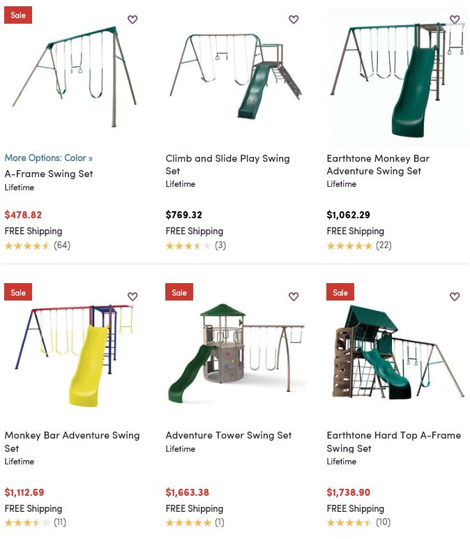 Lifetime Metal Swing sets from Wayfair