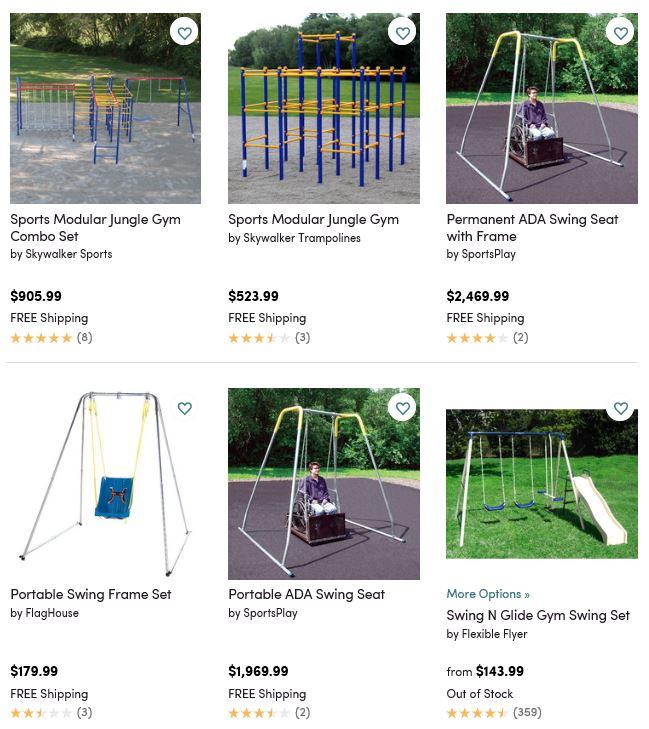 Mixed selection Metal Swing sets, Wayfair