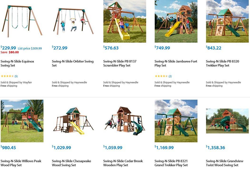 Swing N slide Playset selection from Walmart