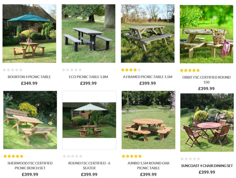picnic tables from the garden furniture centre uk