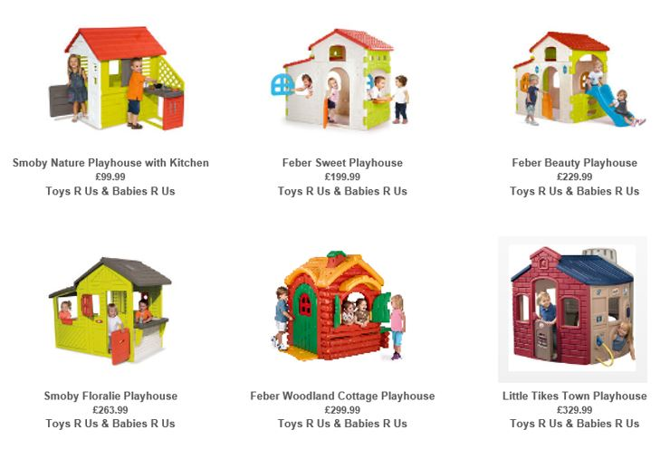Playhouses from Toys R Us UK 1
