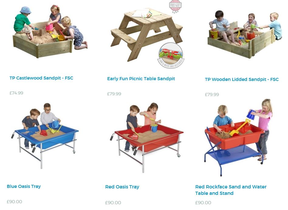 Sand pits and tables from TP Toys UK