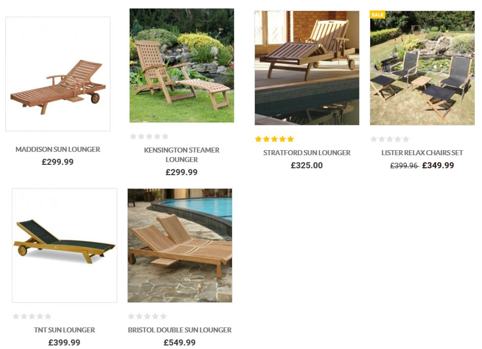Sun Loungers From The Garden Furniture Centre UK