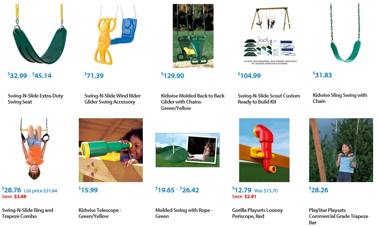 Swing accessories from Walmart 1