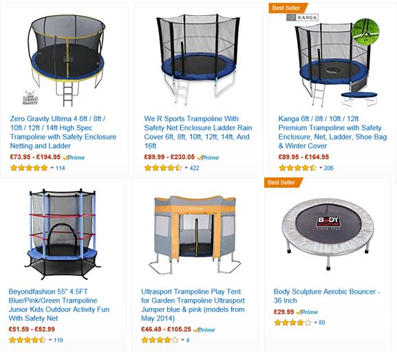 Trampolines from Amazon UK 1