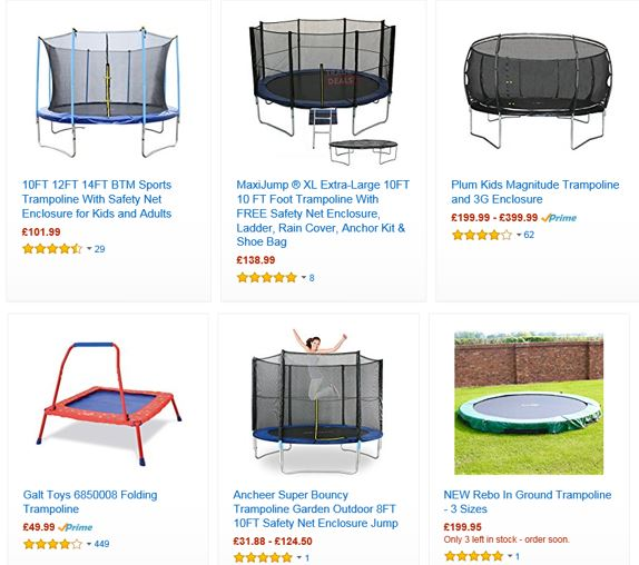 Trampolines from Amazon UK 2