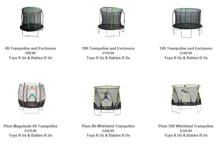 Trampolines from Toys R Us UK, 1