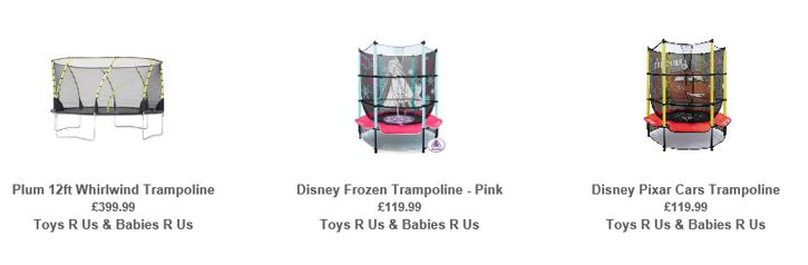 Trampolines from Toys R Us UK, 2