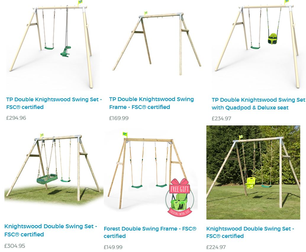 TP Double Swing Set Selection at TP Toys