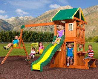 Backyard Discovery Monticello Cedar Swing Set backyard discovery playset reviews - swing set specialist